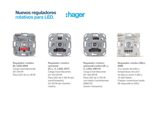 Nuevos reguladores rotativos para LED de Hager